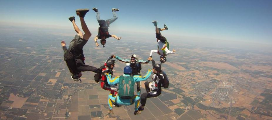 South African Skydivers performing a Free Fly Jump